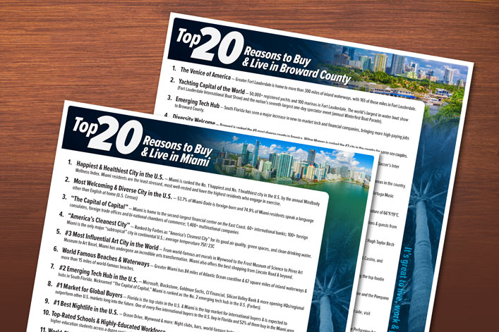Top 20 Reasons to Visit and Buy in South Florida - Co-branded flyers