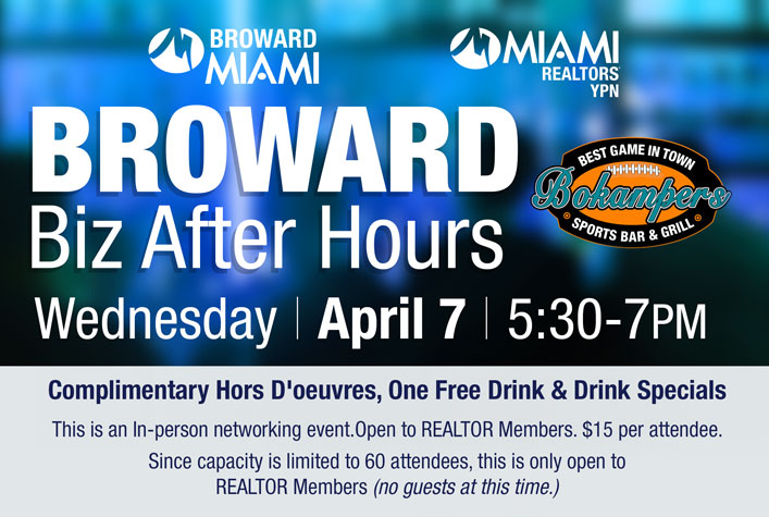 Broward Business After Hours Social Event - Bokampers Sports Bar & Grill - April 7