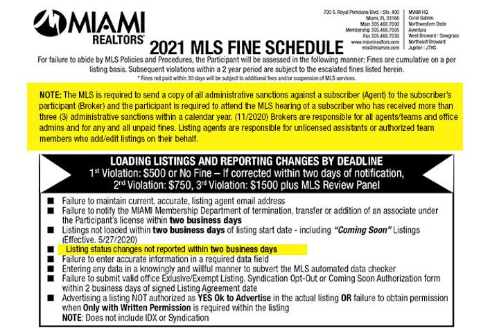 MLS Fine Schedule